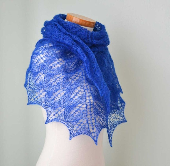 Blue Lace knitted shawl Sapphire  G717