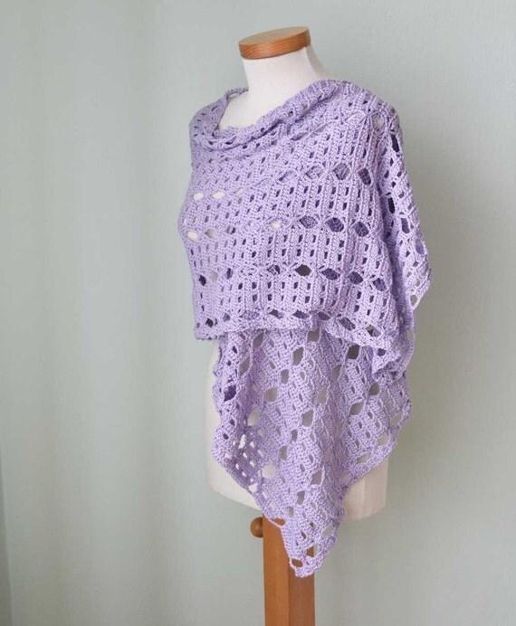 Crochet shawl, scarf, cotton, Lilac, purple,  G735
