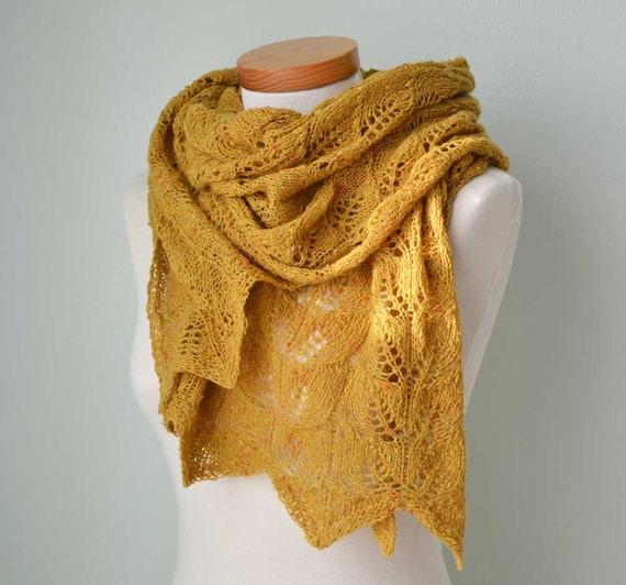 Lace knitted shawl mustard yellow