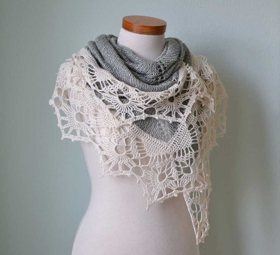 Knitted shawl with crochet lace trim sage green creme  G752
