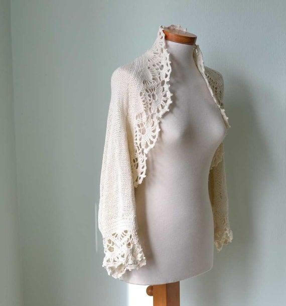 Custom order for CtryGirl     Creme knitted shrug