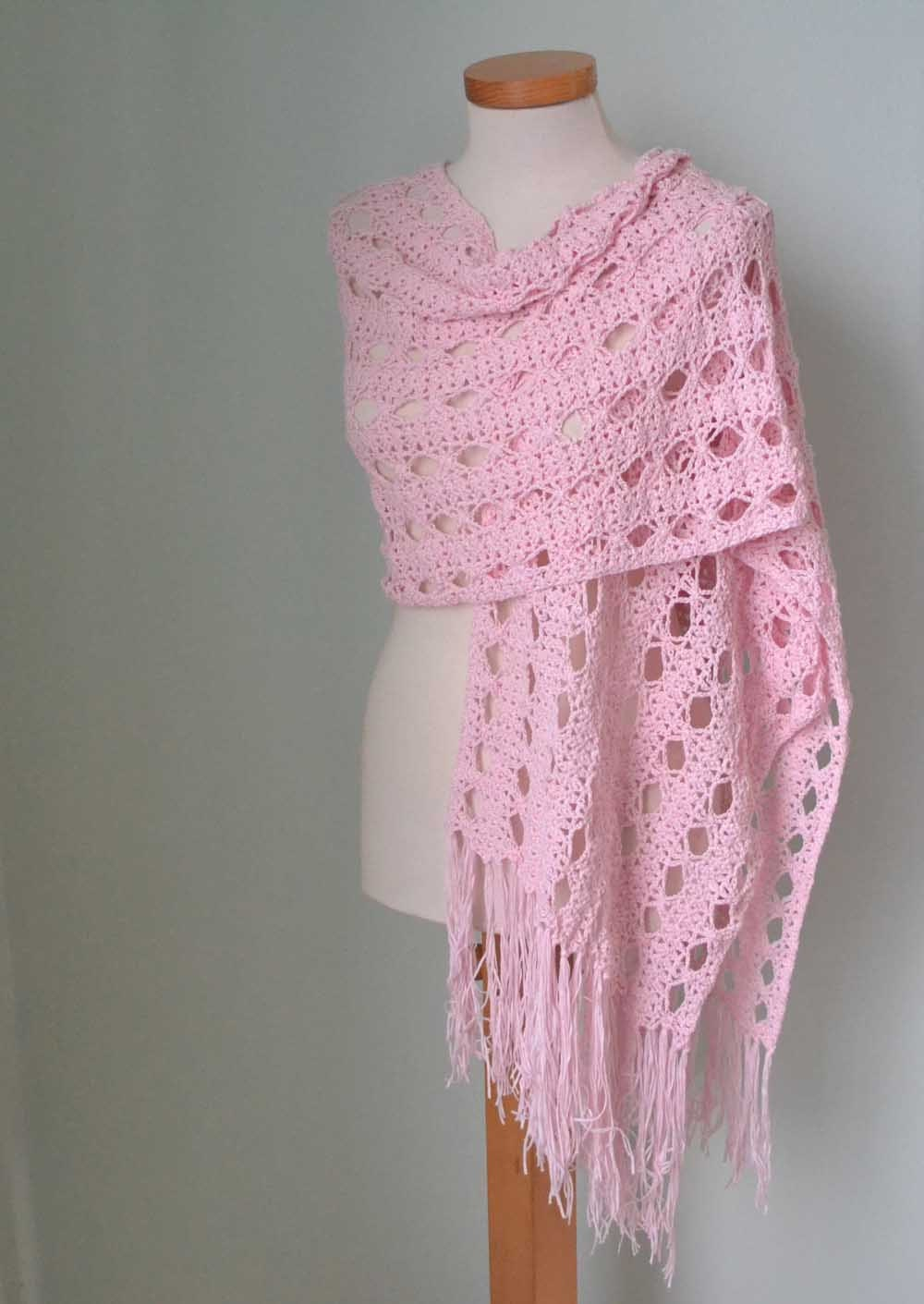 Free Crochet Patterns Shawls Stoles : Lace crochet shawl stole Pink Cotton F596