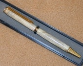 Deer Antler pen with polished gold fittings