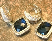 Midnight Moon Earrings - Sapphire Glass and Cubic Zirconia Earrings in Gold