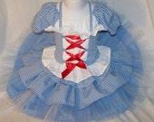 Halloween Pre Order......Wizard of OZ ......Dorthy.......Tulle Skirt/Corset Set custom size 18/24m-8