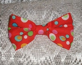 Handmade Boys Men Clip On Bow Tie Girls Hair Bow Red Multi Color Polka Dots