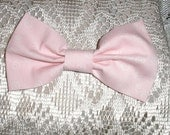 Handmade Boys Men Clip On Bow Tie Girls Hair Bow  Pale Pink