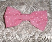 Handmade Boys Men Clip On Bow Tie Girls Hair Bow Pink White Polka Dots