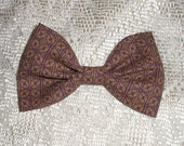 Handmade Boys Men Clip On Bow Tie Girls Hair Bow Brown Violet Print