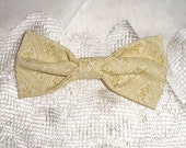 Handmade Boys Men Clip On Bow Tie Girls Hair Bow Off  White Yellow  Gold Print
