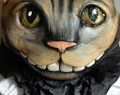 Cheshire Cat OOAK Paper Clay Ornament - MHATEAM