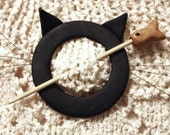 Cat Shawl Pin, Black, Polymer Clay