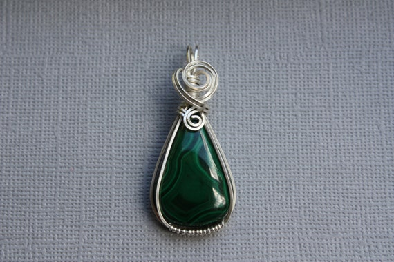 Jealousy's Lament - Malachite and Sterling Silver Teardrop Pendant