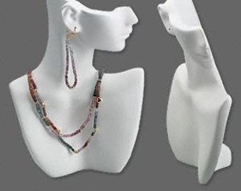 Opaque White Polystyrene Necklace and Earring Display PB17_Wt Bust