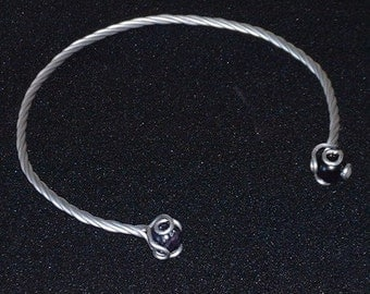 Stainless Steel Neck Torc with choice of Stone and Length
