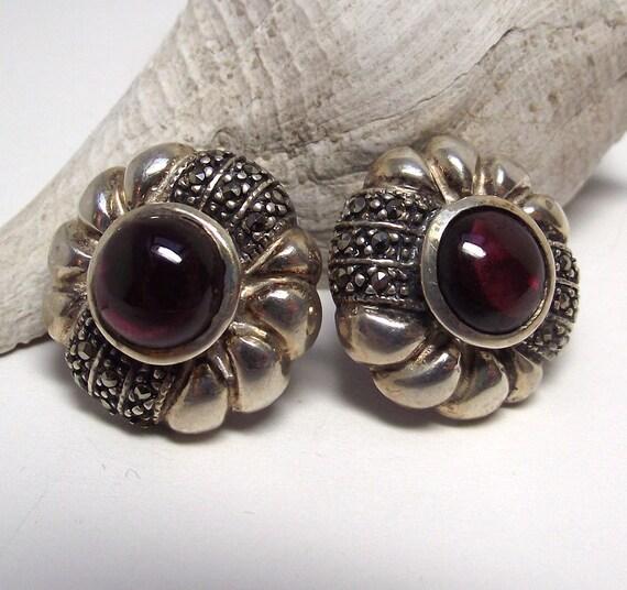 Vintage Sterling Silver Marcasite and Garnet Stud Earrings