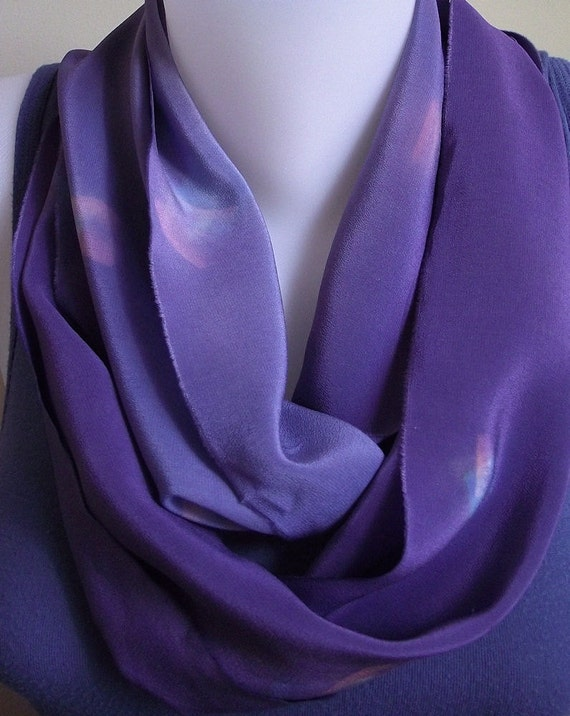 Vintage Hand Dyed Silk in New Infinity Circle Scarf in Purple, Mauve, Rose and Blue