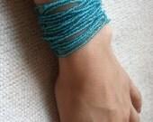 CUSTOM ORDER FOR GENIE - Aqua Blue Hand Beaded Bracelet with Crocheted Clasp