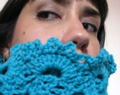 ON SALE - HALF OFF PLUS FREE SHIPPING - Teal Blue Crocheted Lace Scarf