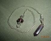 Amethyst and Clear Quartz pocket pendulum