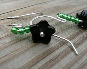 Black Flower Green Stem Earrings