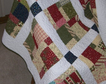 Holiday Table Topper - Lap Quilt Crazy Eight by Sandy Gervais