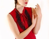RED WITH BLACK LACE VICTORIAN KNIT TOP