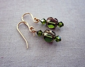 Green glass and crystal earrings *On Reserve*