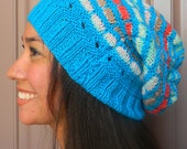 Hand knitted beanie, slouchy hat in Peruvian wool and merino