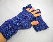 Knit hand warmers,knitted fingerless gloves,  mittens, wrist warmers UNISEX in Blue-