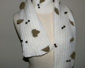 Knit Scarf, Chunky knit scarf, Hand knitted scarf, long and chunky with applique,  leaves and beads