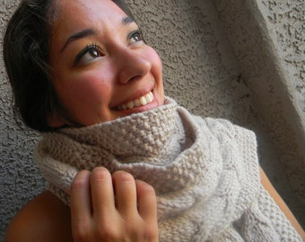 Knitting pattern for chunky cabled scarf - Intermediate knit pattern-