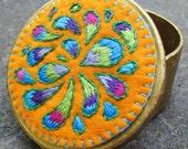 Peacock Paisley Embroidery, Golden Treasure Box