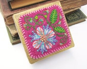 Jewelry Box Embroidered Pink Pansies