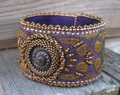Purple Embroidered Cuff with Glass Button and Gold Beadwork
