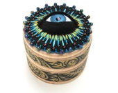 Cyclops Jewelry Box Bead Embroidery Gold Paisley Painted Pattern Blue Eyeball
