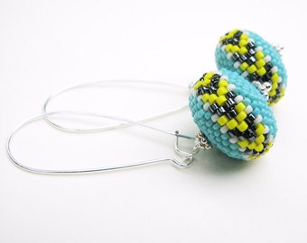 Turquoise Chevron Earrings Beaded Bead Long Kidney Earwires