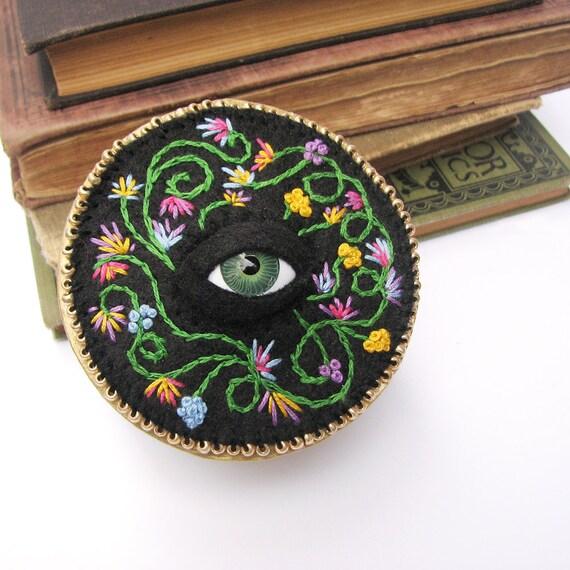 Jewelry Box Flower Embroidery Cyclops Doll Eye