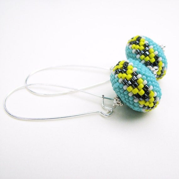 Turquoise Chevron Earrings Beaded Bead Long Kidney Earwires