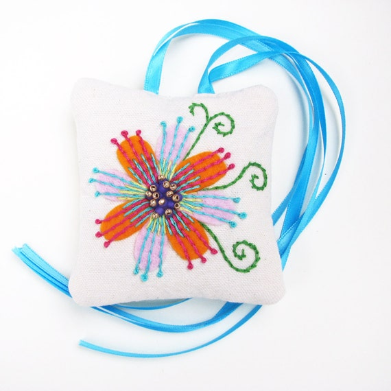 French Lavender Sachet with Embroidered Flowers