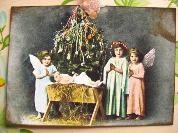 Christmas Nativity Tags Vintage Style Postcard