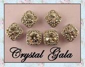 "Beads Crystal 8mm Clear Swarovski Crystal Elements ""GALA"" ~ 2 Hole Sliders ~ Silver ~ QTY 6"