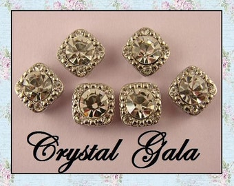 "2 Hole Slider Beads Crystal 8mm Clear Swarovski Crystal Elements ""GALA"" ~ QTY 6"