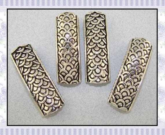2 Hole Silver Plated Metal Beads QTY 4 Curved Bangle Bars with Dragon Skin Scales Pattern