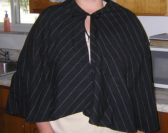 Black Pinstripe Wool Capelet