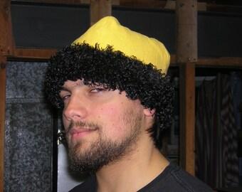 Rus Viking Yellow Linen with Black Fur Skull Cap Hat - SCA, LARP