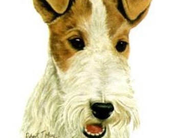 FOX TERRIER WIREHAIR Dog on Twelve Identical 6 inch Fabric Squares for Quilting and Sewing. White background.