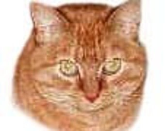 CAT Head in Red Tabby on Twelve Identical 6 inch Identical Fabric Squares for Quilting and Sewing. One Quilt Set.