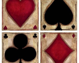 PLAYING CARD SUITS in Eight 6 inch and Two 14 inch fabric panel squares