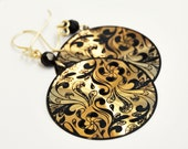 "Dangle Hoop Earring Enamel black and gold ""A night in Venice""  - Floreal - Flower decor - black and gold - light earring"